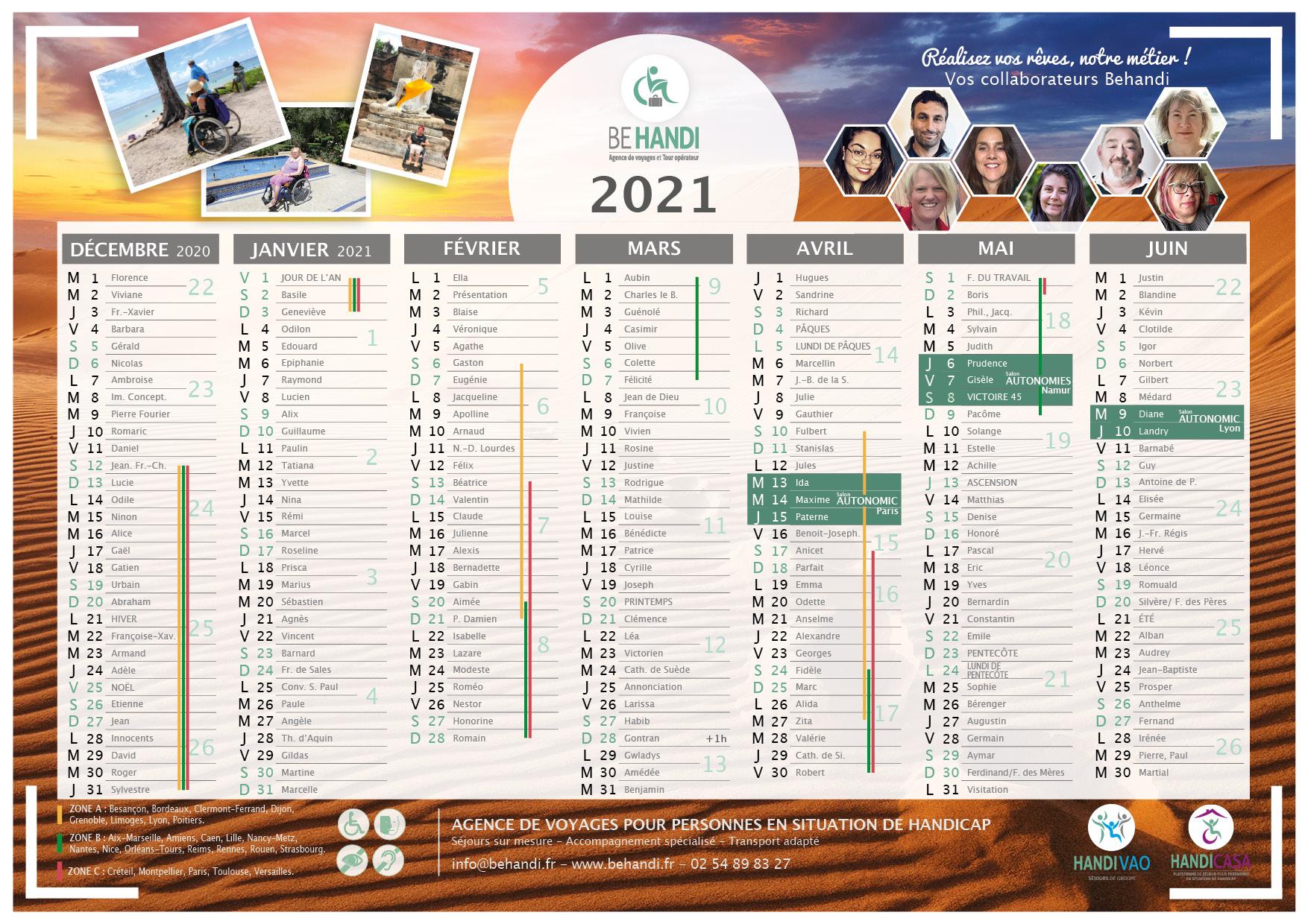Calendrier 2021 avec vacances scolaires et jours fériés Behandi
