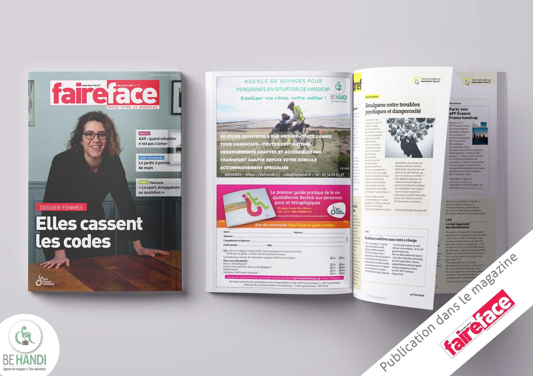 Parution dans le magazine Faire Face